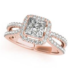0.85 CTW Certified VS/SI Princess Diamond Solitaire Halo Ring 18K Rose Gold - REF-141K5W - 27130