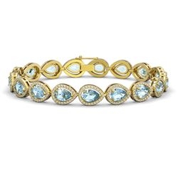 16.59 CTW Sky Topaz & Diamond Halo Bracelet 10K Yellow Gold - REF-271A8X - 41122
