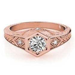 0.4 CTW Certified VS/SI Diamond Solitaire Antique Ring 18K Rose Gold - REF-70X9T - 27223