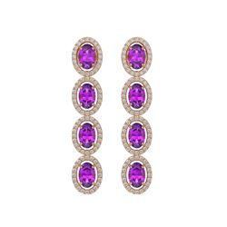 5.56 CTW Amethyst & Diamond Halo Earrings 10K Rose Gold - REF-103K3W - 40542