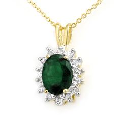 1.80 CTW Emerald & Diamond Pendant 10K Yellow Gold - REF-19N5Y - 13578