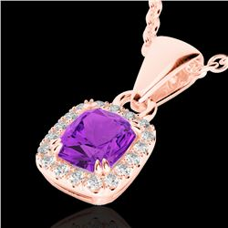 1.25 CTW Amethyst & Micro Pave VS/SI Diamond Halo Necklace 10K Rose Gold - REF-28A8X - 22876