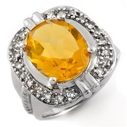 4.68 CTW Citrine & Diamond Ring 10K White Gold - REF-50H5A - 10016
