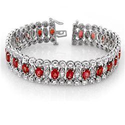 18.50 CTW Red Sapphire & Diamond Bracelet 14K White Gold - REF-399Y6K - 11371