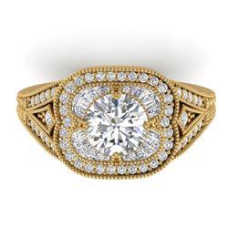 1.95 CTW Certified VS/SI Diamond Art Deco Micro Ring 14K Yellow Gold - REF-421H6A - 30506