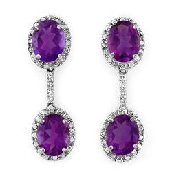 7.10 CTW Amethyst & Diamond Earrings 14K White Gold - REF-53H6A - 10249