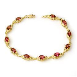 4.50 CTW Pink Tourmaline Bracelet 10K Yellow Gold - REF-68F5N - 14275