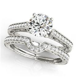 0.57 CTW Certified VS/SI Diamond Solitaire 2Pc Wedding Set Antique 14K White Gold - REF-86T5M - 3151