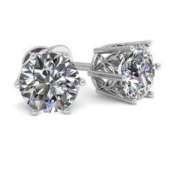 1.0 CTW Certified VS/SI Diamond Stud Solitaire Earrings 18K White Gold - REF-178X2T - 35820