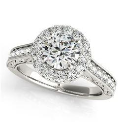 2.22 CTW Certified VS/SI Diamond Solitaire Halo Ring 18K White Gold - REF-613K8W - 26515