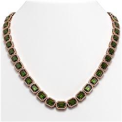 60.49 CTW Tourmaline & Diamond Halo Necklace 10K Rose Gold - REF-928H2A - 41352