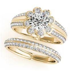 1.21 CTW Certified VS/SI Diamond 2Pc Wedding Set Solitaire Halo 14K Yellow Gold - REF-150M9H - 31285