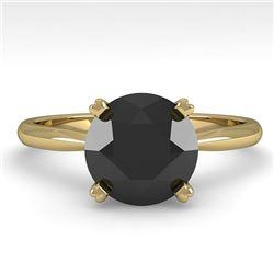 2.0 CTW Black Diamond Engagement Designer Ring 18K Yellow Gold - REF-74H2A - 32449