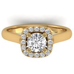 1.01 CTW Certified VS/SI Diamond Solitaire Halo Ring 14K Yellow Gold - REF-182K9W - 30419