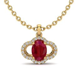 2 CTW Ruby & Micro Pave VS/SI Diamond Necklace 10K Yellow Gold - REF-30W2F - 20640