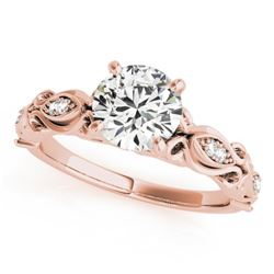 0.85 CTW Certified VS/SI Diamond Solitaire Antique Ring 18K Rose Gold - REF-196A8X - 27271