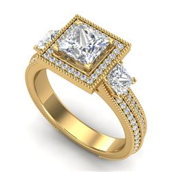 2.5 CTW Princess VS/SI Diamond Micro Pave 3 Stone Ring 18K Yellow Gold - REF-527K3W - 37198