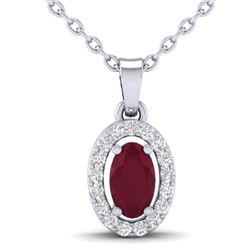 0.51 CTW Ruby & Micro Pave VS/SI Diamond Necklace Halo 18K White Gold - REF-33M5H - 21325