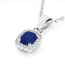 1.25 CTW Sapphire & VS/SI Diamond Halo Necklace Micro Pave 10K White Gold - REF-29A6X - 22890