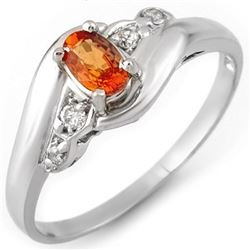 0.42 CTW Orange Sapphire & Diamond Ring 18K White Gold - REF-30Y8K - 10891