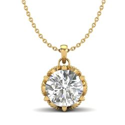 1.36 CTW VS/SI Diamond Solitaire Art Deco Necklace 18K Yellow Gold - REF-361W8F - 37246