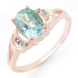 1.06 CTW Blue Topaz & Diamond Ring 14K Rose Gold - REF-19F8N - 12545