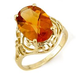 6.50 CTW Citrine Ring 10K Yellow Gold - REF-21N3Y - 11157