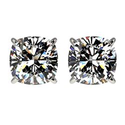 2 CTW Certified VS/SI Quality Cushion Cut Diamond Stud Earrings 10K White Gold - REF-585M2H - 33097