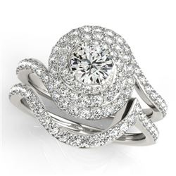 2.48 CTW Certified VS/SI Diamond 2Pc Wedding Set Solitaire Halo 14K White Gold - REF-547K6W - 31304