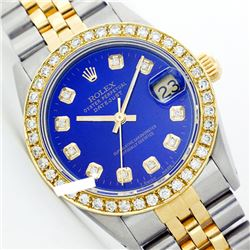Rolex Ladies Two Tone 14K Gold/ss, Diamond Dial & Diamond Bezel, Sapphire Crystal - REF-434M3F
