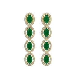 6.47 CTW Emerald & Diamond Halo Earrings 10K Yellow Gold - REF-114A2X - 40504