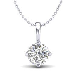 0.82 CTW VS/SI Diamond Solitaire Art Deco Stud Necklace 18K White Gold - REF-180A2X - 37025
