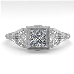 0.50 CTW VS/SI Princess Diamond Solitaire Engagement Ring Deco 18K White Gold - REF-113T8M - 36024