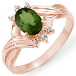 0.79 CTW Green Tourmaline & Diamond Ring 14K Rose Gold - REF-23Y8K - 11596
