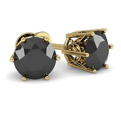 1.0 CTW Black Certified Diamond Stud Art Deco Earrings 14K Yellow Gold - REF-35K3W - 29665