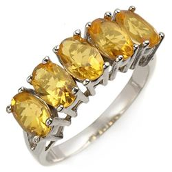 2.0 CTW Citrine Ring 10K White Gold - REF-14T2M - 10860