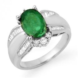 2.87 CTW Emerald & Diamond Ring 18K White Gold - REF-122N9Y - 12940
