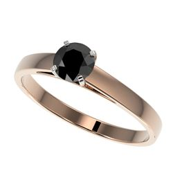 0.50 CTW Fancy Black VS Diamond Solitaire Engagement Ring 10K Rose Gold - REF-19H3A - 32956