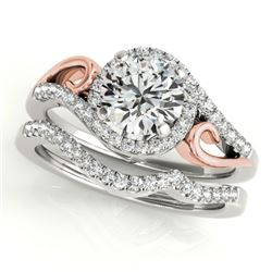 0.95 CTW Certified VS/SI Diamond 2Pc Set Solitaire Halo 14K White & Rose Gold - REF-130H2A - 31199