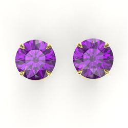 4 CTW Amethyst Designer Inspired Solitaire Stud Earrings 18K Yellow Gold - REF-29N3Y - 21810