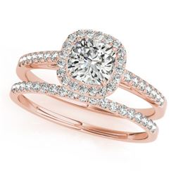 1.17 CTW Certified VS/SI Cushion Diamond 2Pc Set Solitaire Halo 14K Rose Gold - REF-227T6M - 31392
