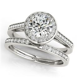 0.86 CTW Certified VS/SI Diamond 2Pc Wedding Set Solitaire Halo 14K White Gold - REF-135M6H - 30804