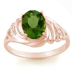 2.54 CTW Green Tourmaline & Diamond Ring 14K Rose Gold - REF-46N5Y - 11477