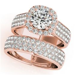 2.59 CTW Certified VS/SI Diamond 2Pc Wedding Set Solitaire Halo 14K Rose Gold - REF-475X5T - 31167