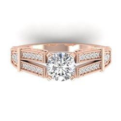 1.5 CTW Certified VS/SI Diamond Solitaire Art Deco Ring 14K Rose Gold - REF-373F3N - 30475