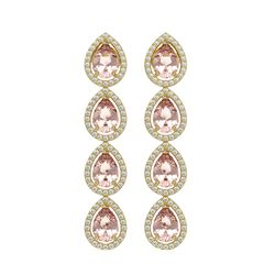7.8 CTW Morganite & Diamond Halo Earrings 10K Yellow Gold - REF-189X6T - 41152