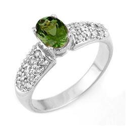 1.50 CTW Green Tourmaline & Diamond Ring 18K White Gold - REF-71A3X - 11044
