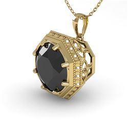 1 CTW Black Certified Diamond Necklace 18K Yellow Gold - REF-50W9F - 35998