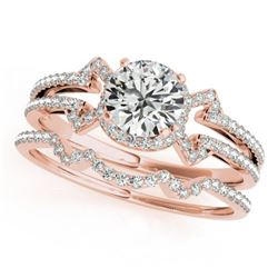 1.22 CTW Certified VS/SI Diamond Solitaire 2Pc Wedding Set 14K Rose Gold - REF-208M8H - 32001