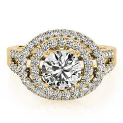 1.75 CTW Certified VS/SI Diamond Solitaire Halo Ring 18K Yellow Gold - REF-438N4Y - 26927